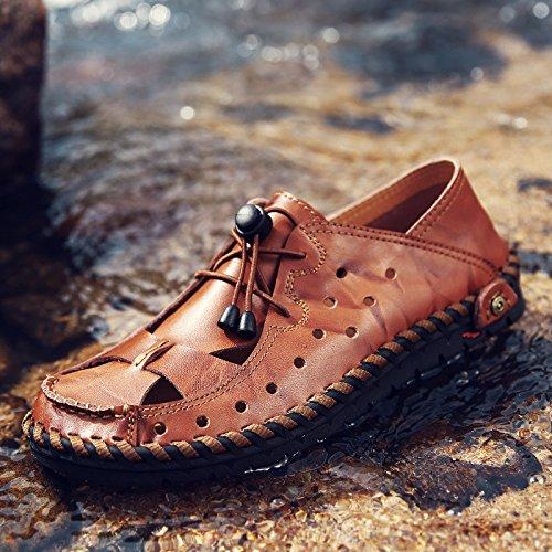 Summer Men's Black Sandals Leather Closed-Toe Outdoor Sandals Trekking Shoes Beach Shoes Sports Sandals Brown FxdmCBL