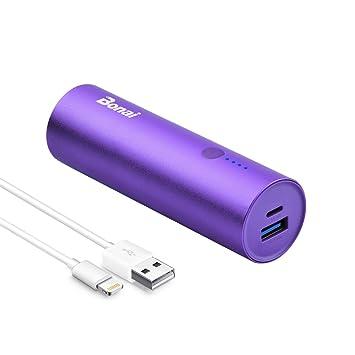BONAI Batería Externa, 5800mAh Cargador Móvil Portátil Batería Power Bank para iPhone Samsung and Android con Cable - Púrpura