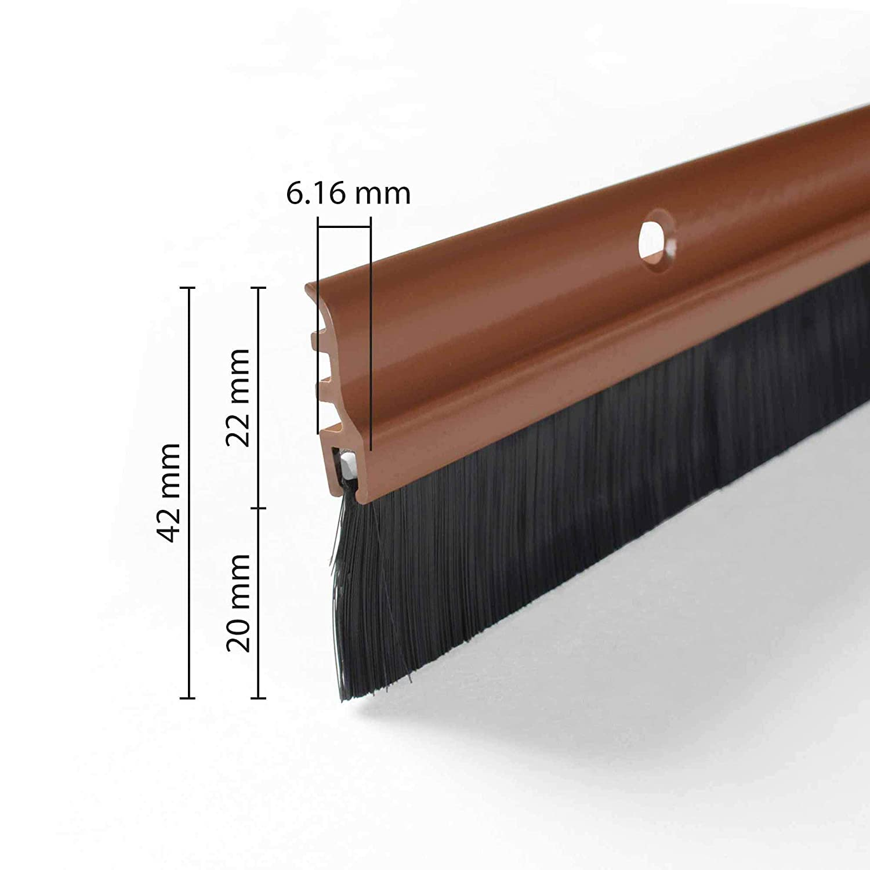 36 Deco Home Door Seal Chocolate Brown Color Aluminium Plate with Nylon Black Brush