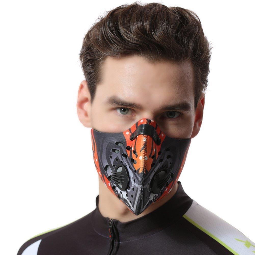 PoeHXtyy Maschera Antipolvere Filtro Carbone Attivo filtrazione e Ciclismo Maschera Mezzo Volto PM 2.5Anti inquinamento Maschera per attività all' Aperto, Grey, M