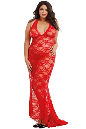 Amazon.com  Dreamgirl Women s Plus Size Stretch Lace Gown Bridal Set ... 1e9108685