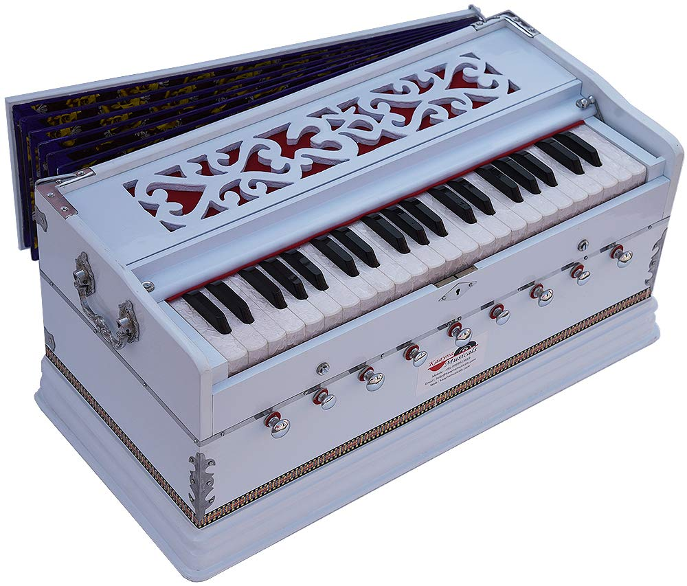 OM Harmonium White Pro Grade By Kaayna Musicals, 9 Stop- 5 Main & 4 Drone, 3½ Octave, Coupler, Gig Bag, Bass/Male Reed Tuned- 440 Hz, Suitable for Peace, Yoga, Bhajan, Kirtan, Shruti, Mantra, etc by Kaayna Musicals