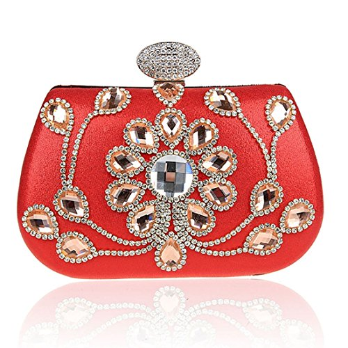 Handbag Rhinestones Women's Party Silver Evening Clutch Satin Vintage Crystals with Wedding 1zAqPw0w