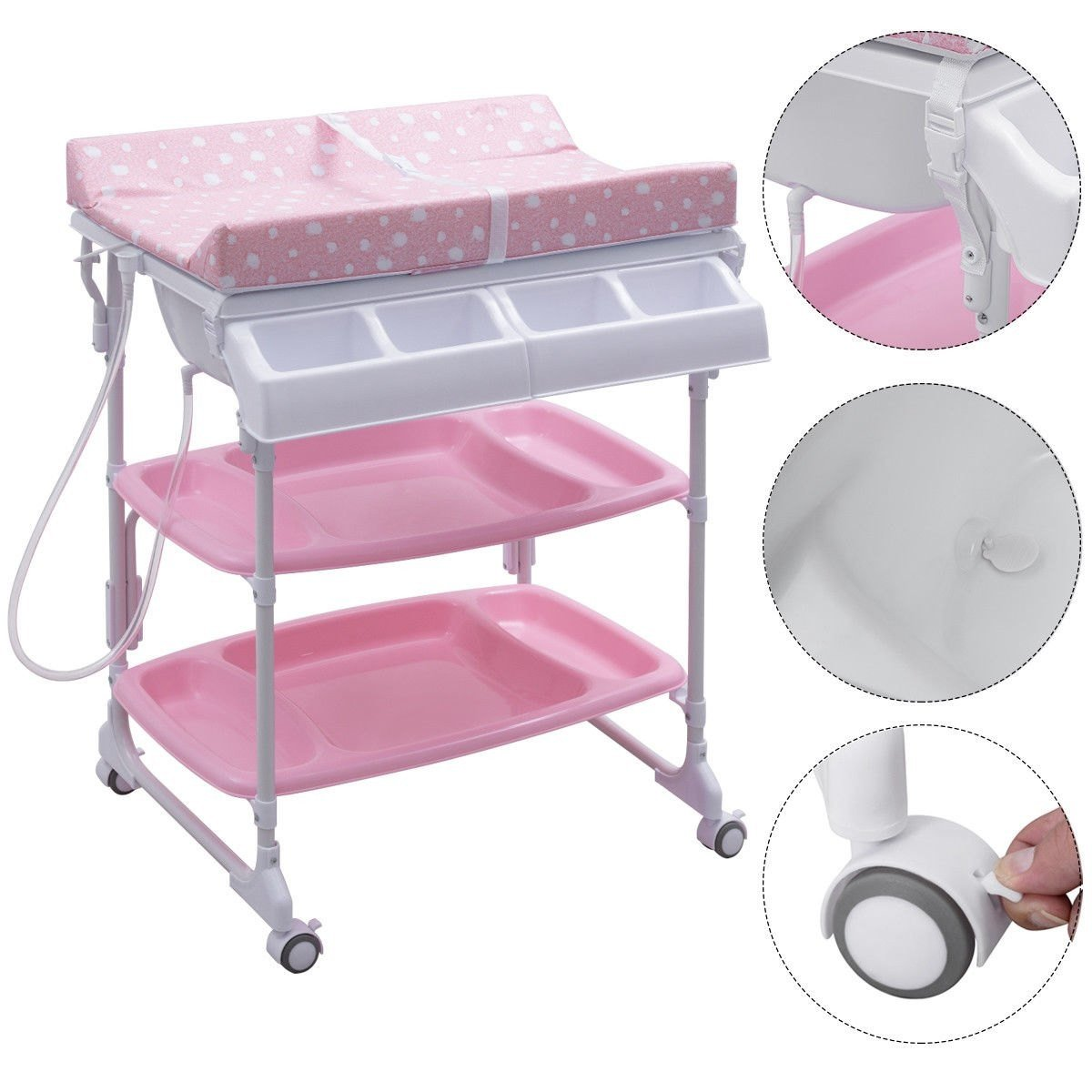 Baby Infant Bath Changing Table w/ Tube Pink