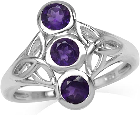 Silvershake Natural African Amethyst White Gold Plated 925 Sterling Silver Triquetra Celtic Knot Ring
