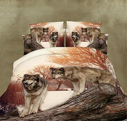 Ammybeddings Wolf Bedding with Duvet Cover,Flat Sheet and Pillowcase,3D Bedding Set,Full Size,4 Piece (Full)