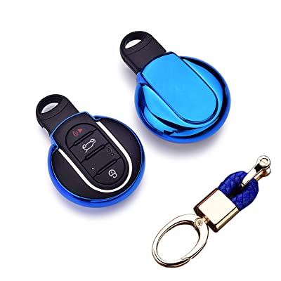Royalfox(TM) Luxury 3 4 Buttons Soft TPU Smart Remote Key Fob case Cover for BMW Mini Cooper F54 F55 F56 F57 F60,with Keychain (Blue)