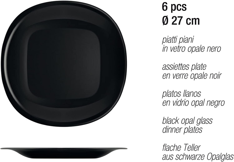 White//Black Opal Glass H/&H Black/&White Table Set 18 Pieces