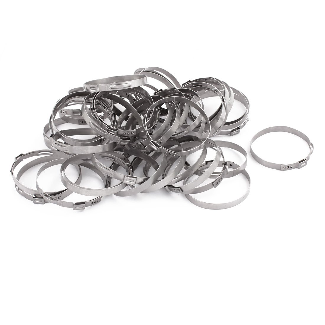 uxcell 56.8mm-60mm 304 Stainless Steel Adjustable Tube Hose Clamps Silver Tone 50pcs