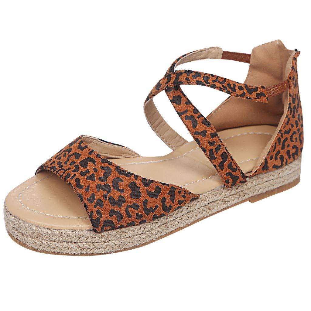 IEasⓄn Plus Size Sandals for Women Leopard Wedges Platform Retro Peep Toe Sandals Retro Peep Toe Sandals (CN:230/US:6, Brown)