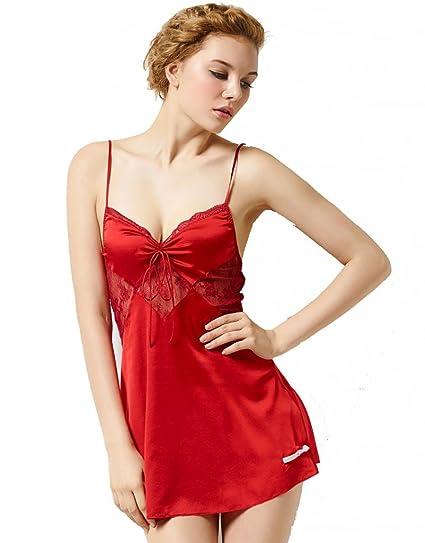 sangluo mujeres de seda pura Essentials encaje lencería picardías pijamas albornoz camisón Rojo rosso M : Amazon.es: Ropa y accesorios