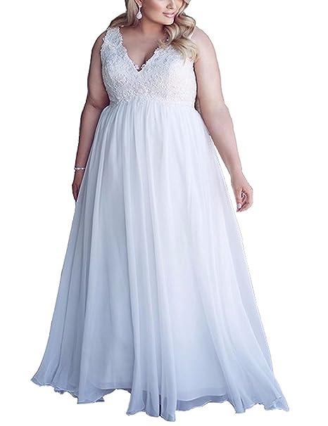 Erosebridal Plus Size Wedding Dress For Women Boho Style V ...