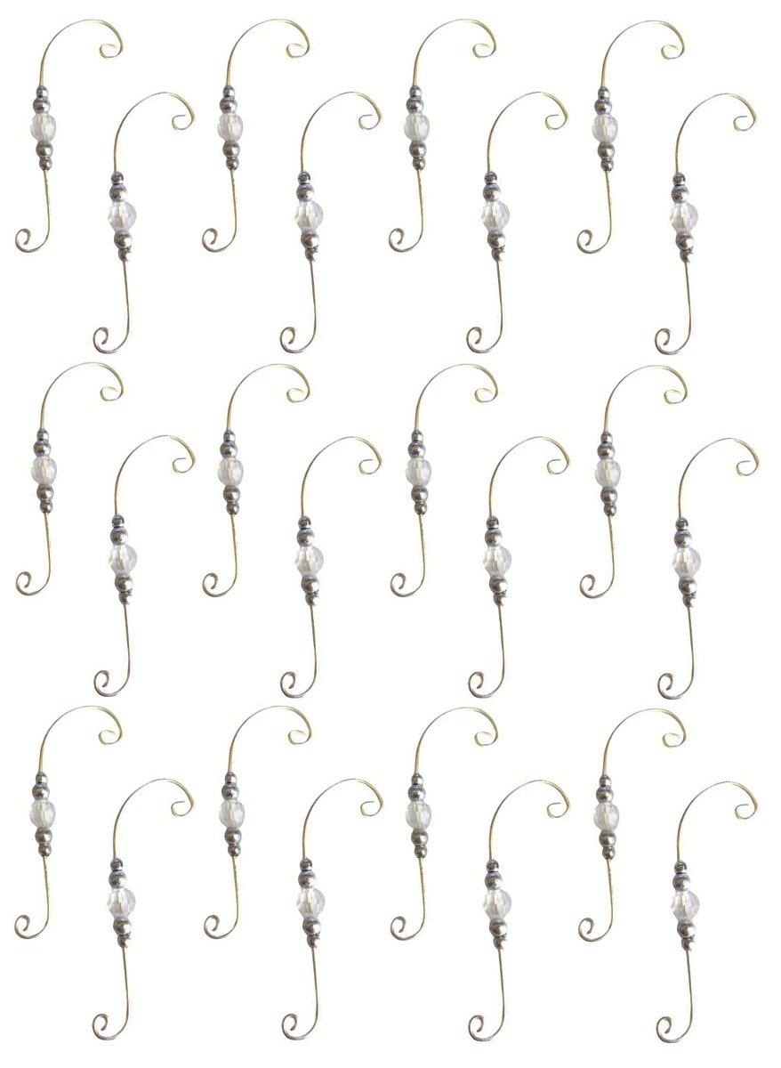 Silver Swirl Beaded Ornament Decorative Holiday Hangers Set of 24 Hooks