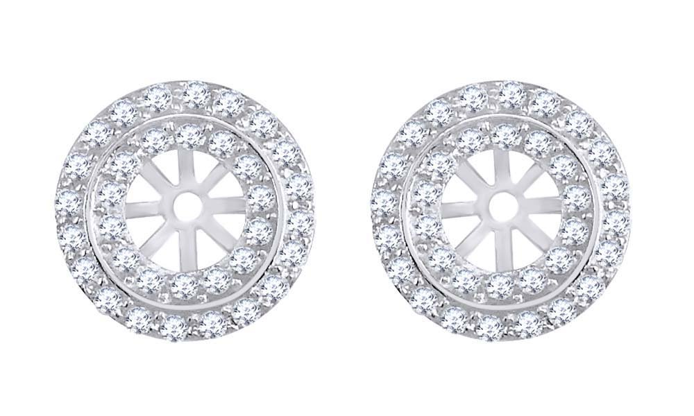 Round White Natural Diamond Two Rows Stud Earring Jackets in 14k Solid White Gold (0.40 Cttw) by AFFY