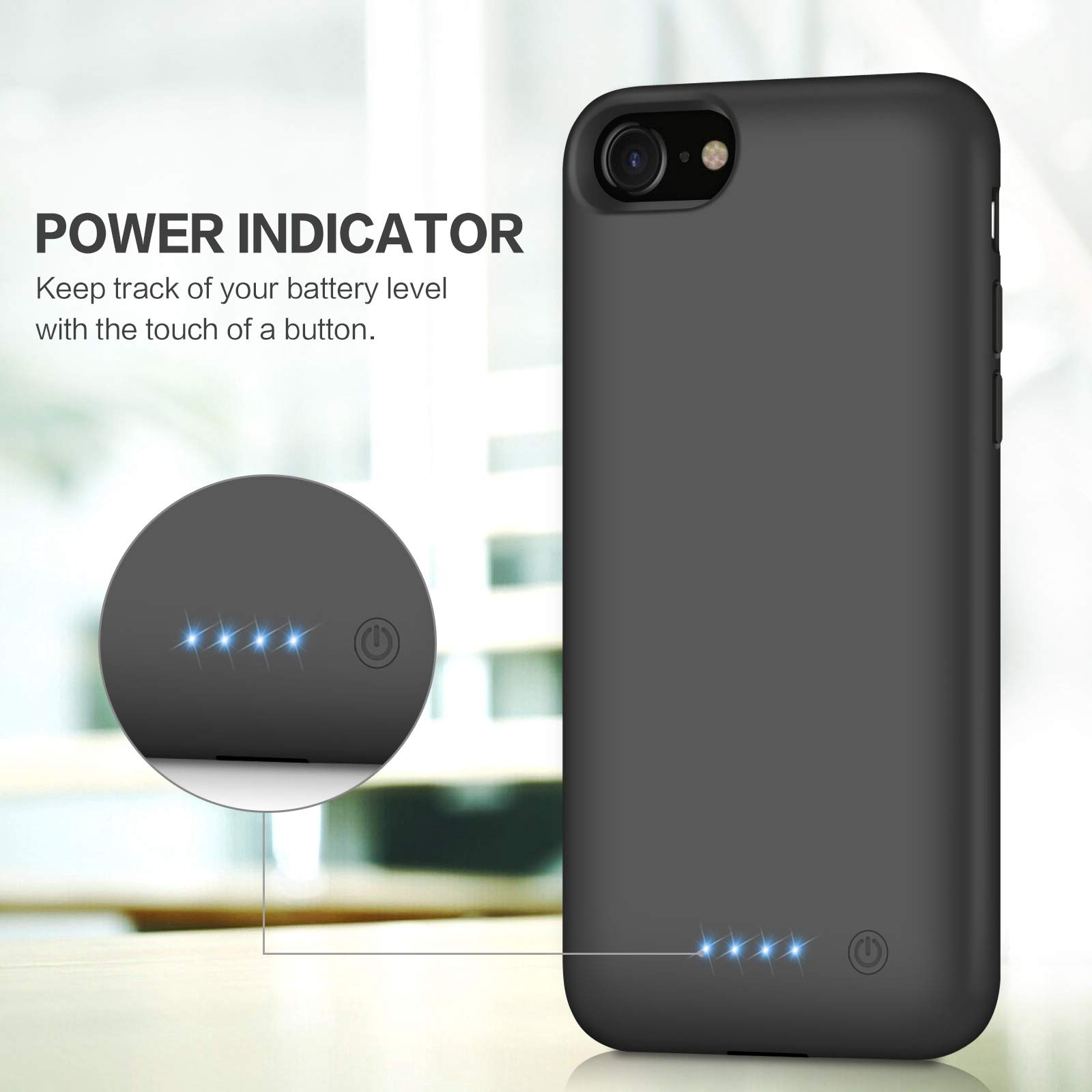 Battery case for iPhone 8/7, Xooparc [6000mah] Upgraded Charging Case Protective Portable Charger Case Rechargeable Extended Battery Pack for Apple iPhone 7/8(4.7') Backup Power Bank Cover (Black) by Xooparc (Image #3)