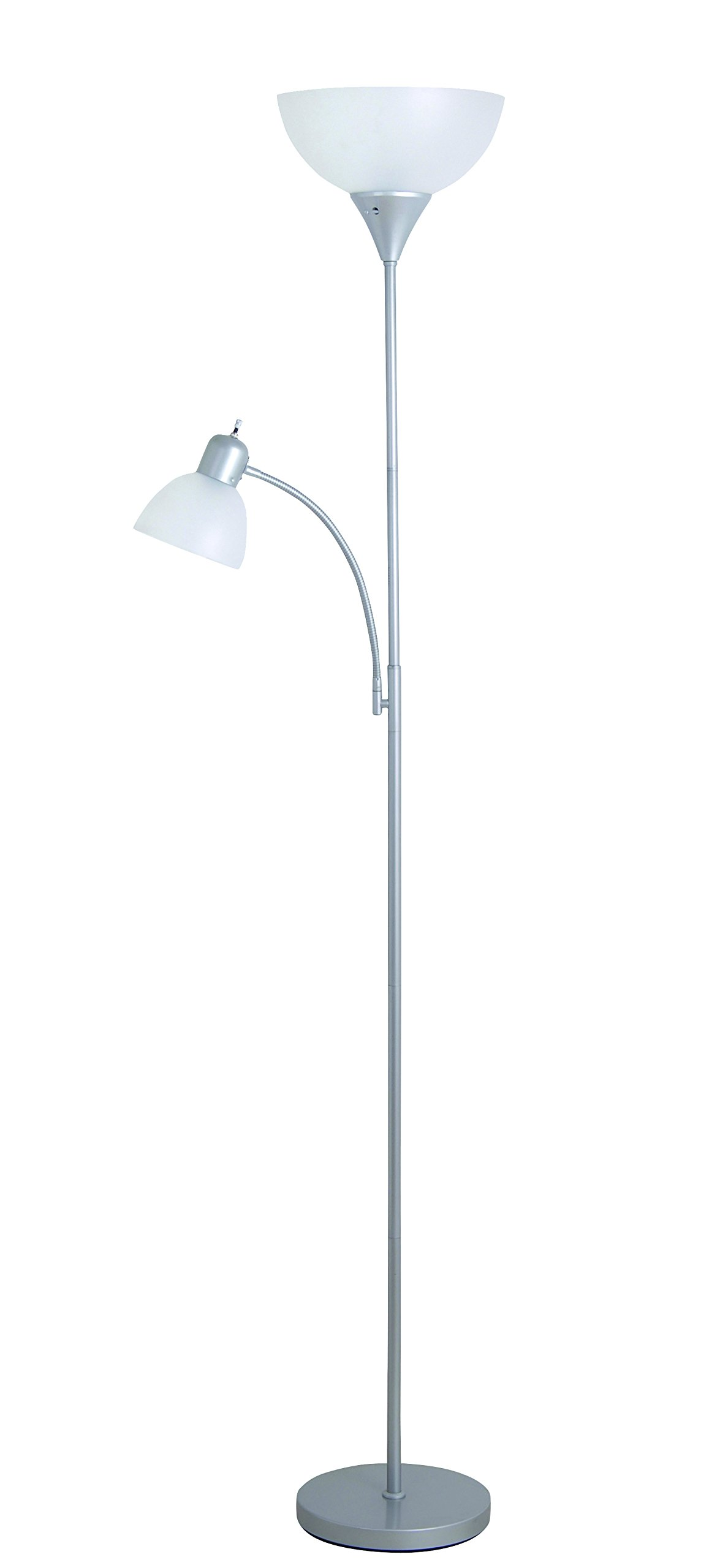 Catalina Lighting 17939-006 Macobey Torchiere Floor Lamp with Adjustable Reading Light and White Shades, 71'', Silver