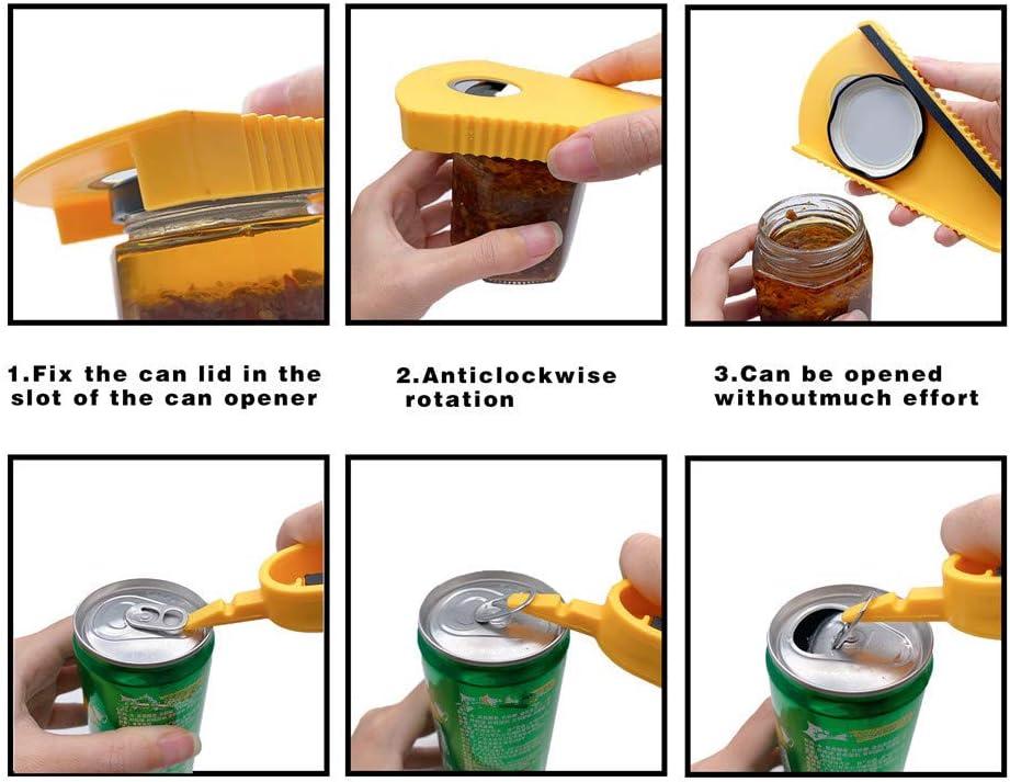 WantGor Can Opener Multi-functional Non Slip Soda /& Water Plastic Caps Bottle Opener Jam Jar Opener Open Canning Kitchen Tools For Kids and Seniors with Arthritic Weak Hands