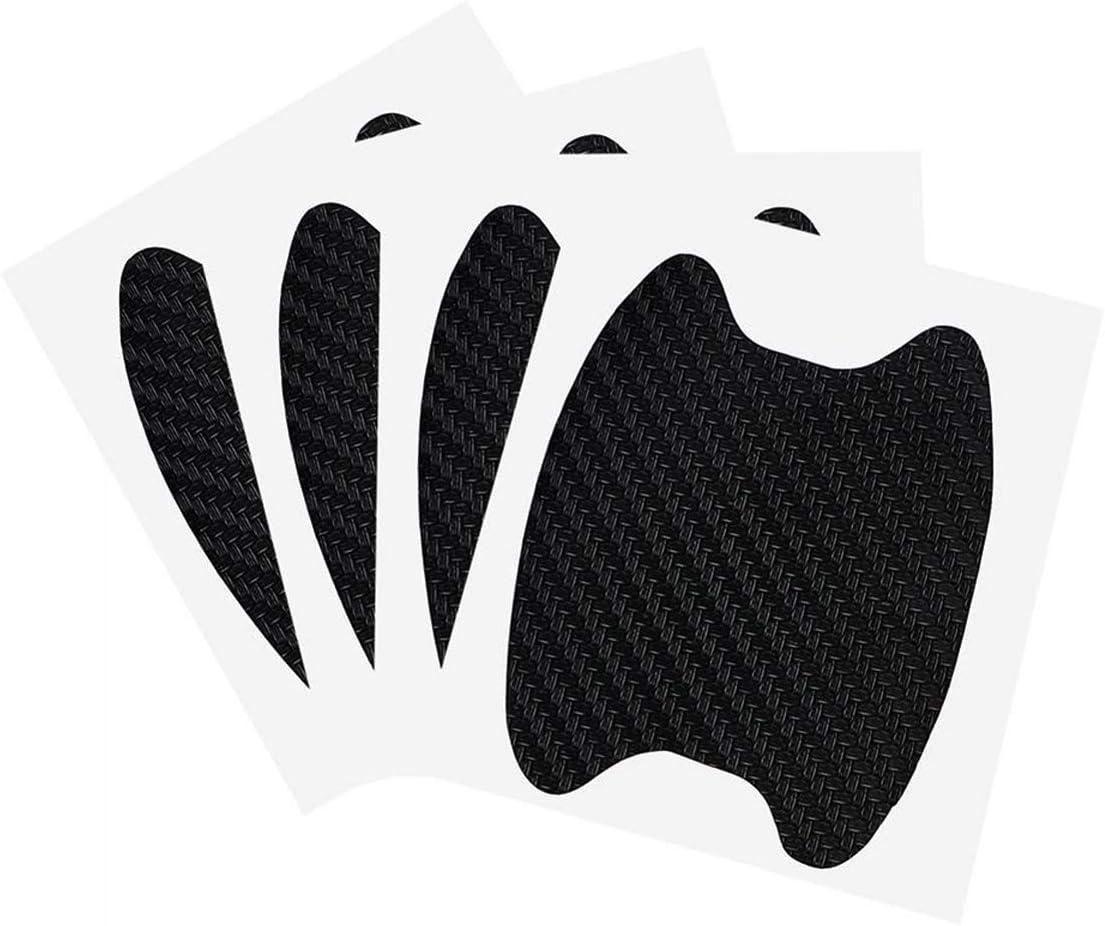 Emoly 12Pcs Universal 3D Carbon Fiber Car Door Handle Paint Scratch Protector Sticker Auto Door Handle Scratch Cover Guard Protective Film (Black)