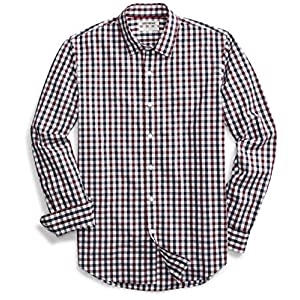 Amazon Brand - Goodthreads Men's Standard-Fit Long-Sleeve Gingham Plaid Poplin Shirt 23