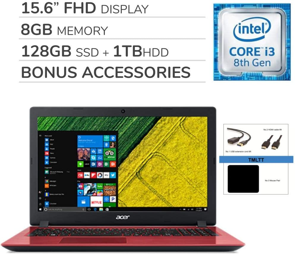 "Acer Aspire 3 15.6"" FHD Laptop Notebook Computer, 2-Core Intel Core i3-8130U 2.20 GHz, No DVD, Wi-Fi, Bluetooth, Webcam, HDMI, Windows 10, TMLTT Bonus Kit (8GB - 128GB SSD + 1TB HDD)"