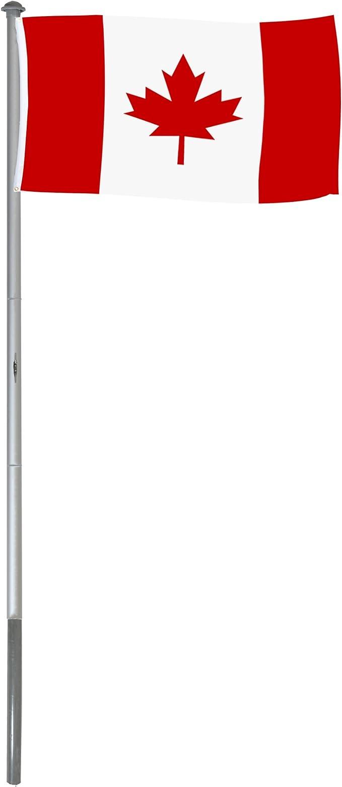 BRUBAKER Mástil Aluminio Exterior 6 m Incluye Bandera de Canadá 150 x 90 cm y Soporte de Tierra: Amazon.es: Jardín