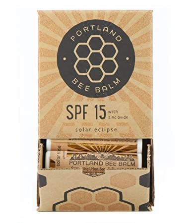 Portland Bee Balm Solar Eclipse All Natural Handmade Beeswax Based SPF 15 Lip Balm, Case of 24