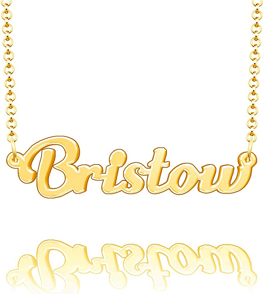 EV.YI Jewels Bristow Custom Personalized Name Necklace Last Name Plate Pendant Gift for Family Mom Dad Friend Lover