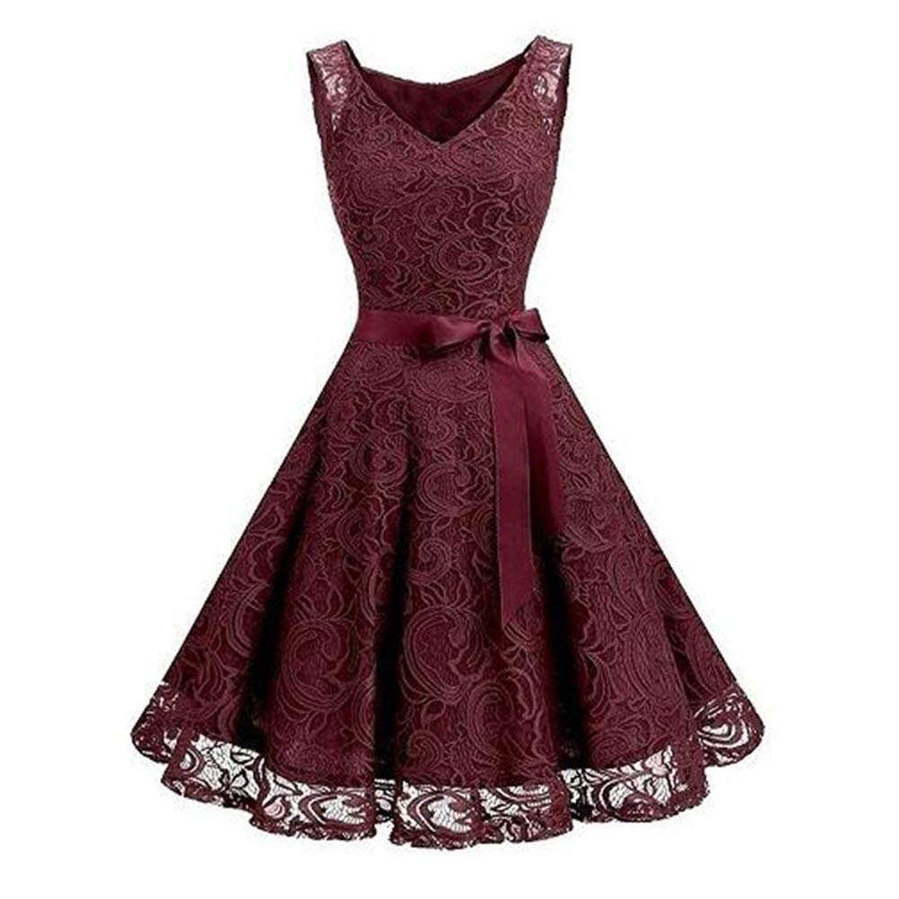 LYQTONG Lace Large Swing Skirt Hot New VNeck Sleeveless Lace Large Swing Skirt, Wine Red, XL