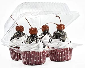 4 Compartment Cupcake Containers Plastic 40 Count Disposable Cupcake Boxes for Cupcakes & Muffins - Hinged Lock Cupcake Clamshell Plus A Maryland Wholesale Pen.