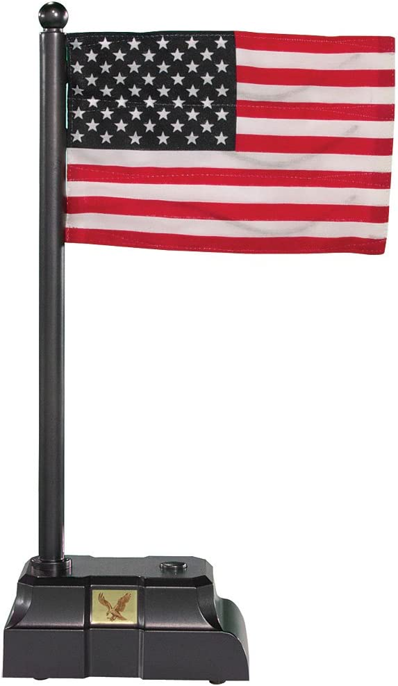 Desktop Electronic Waving American Flag w/ Base That Billows & Plays 2 Songs