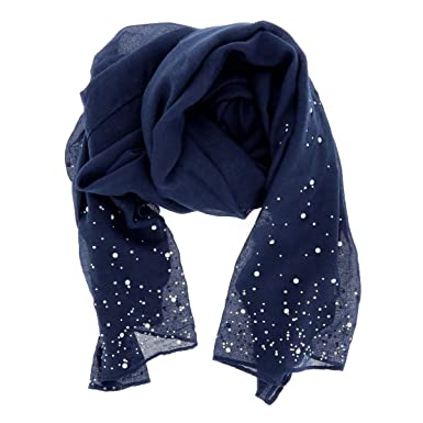fff85acd0d64 moonbow Foulard Bleu marine Perles et Strass - Etole Pour Mariage ...