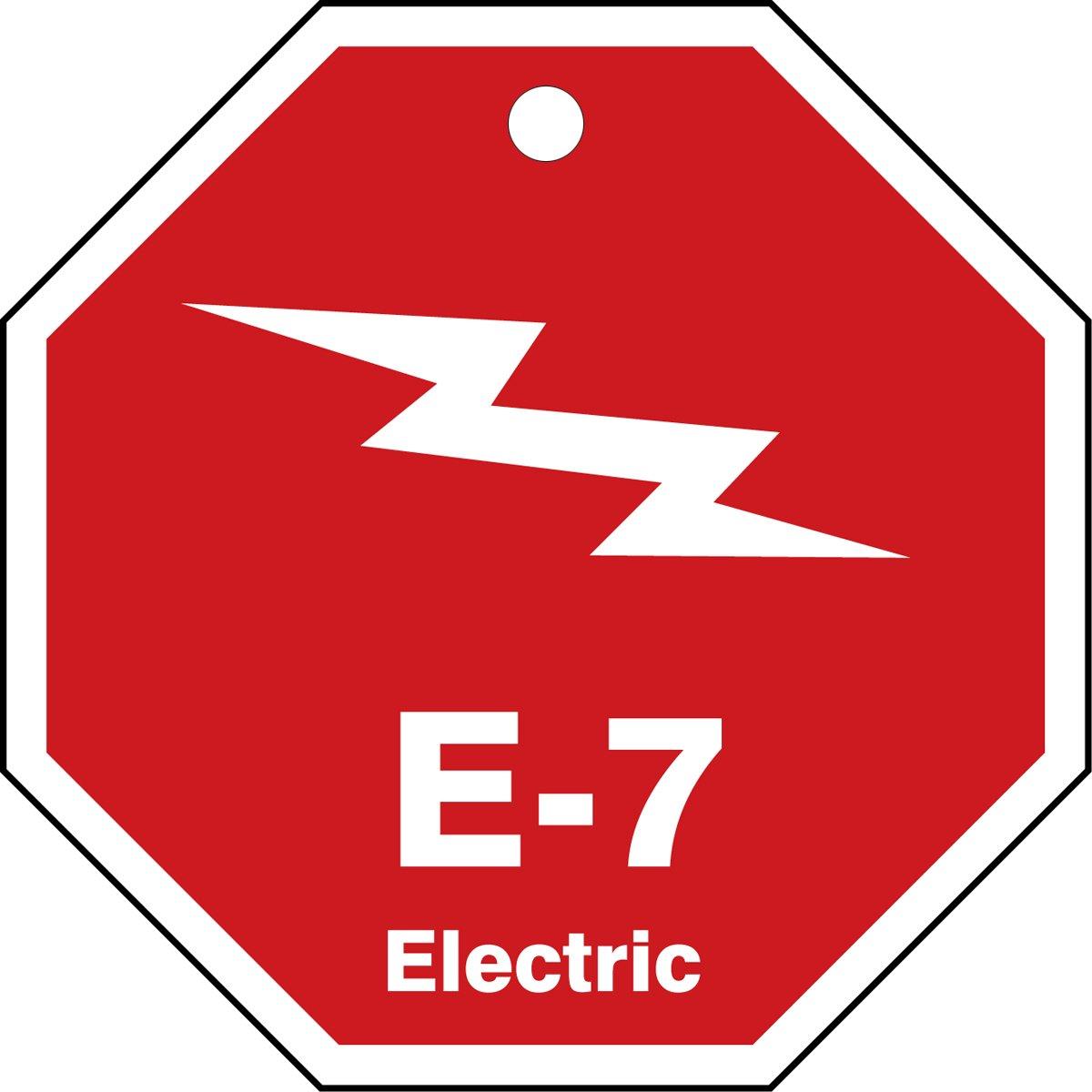 Accuform TDK307VPM PlasticE-7 Electric Energy Source Shape ID Tag 2-1//2 W x 2-1//2 L 2-1//2 W x 2-1//2 L White on Red Pack of 5