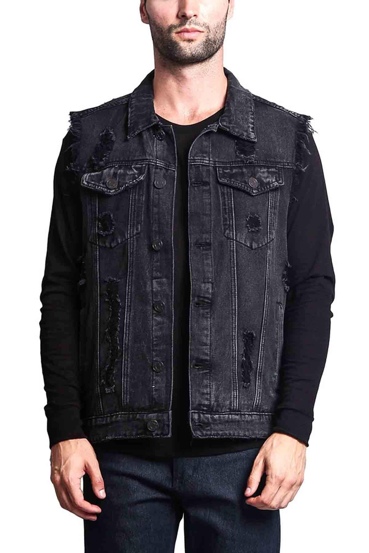 Victorious Distressed Denim Jean Vest Jacket DK101 - Classic Black - 2X-Large - A3G by Victorious