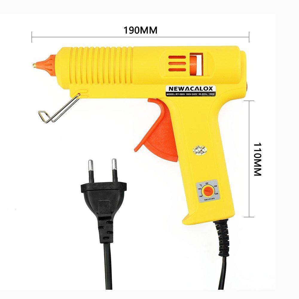 150W EU DIY Hot Melt Glue Gun 11mm Adhesive Stick Rod Industrial Electric Silicone Gun Thermo Gluegun Repair Heat Tool (Yellow)