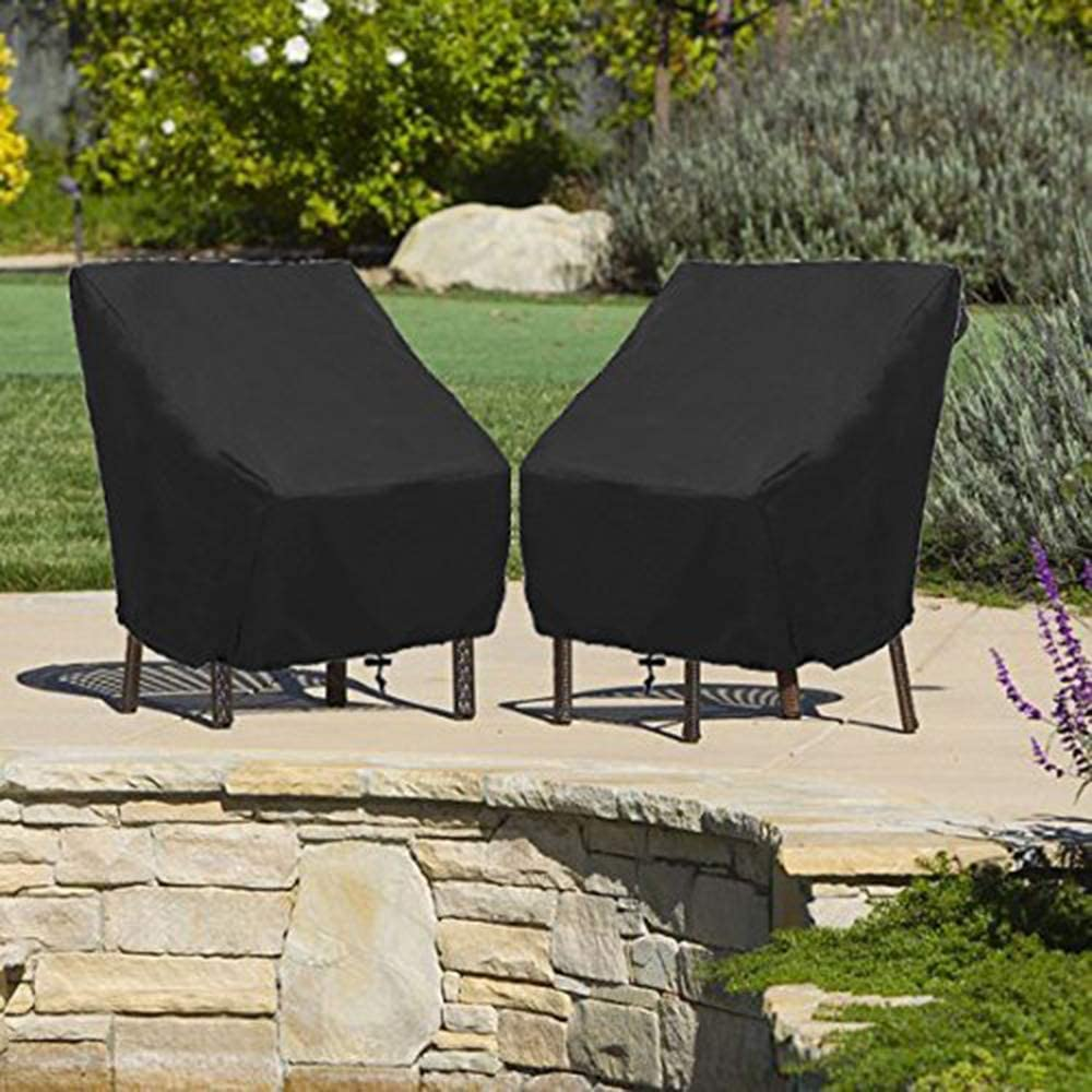 Garden Chair Cover Patio Stacking Chair Cover Waterproof 420D Oxford Fabric Outdoor Protective Cover for Stackable Chairs Anti-UV 70x79x101//70cm Black 2 Pack