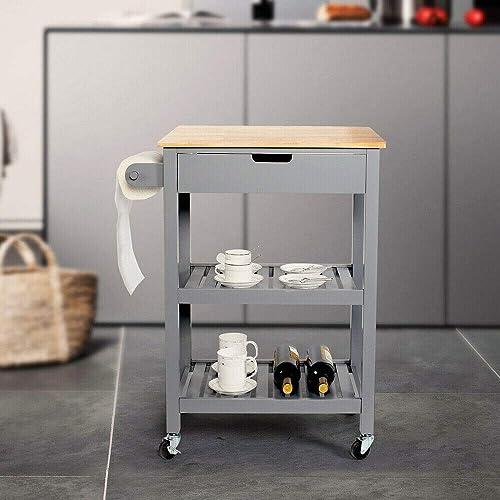 Walomes Kitchen Island Trolley Cart Wood Top Storage Drawer Rolling w/Wine Rack Shelf Grey