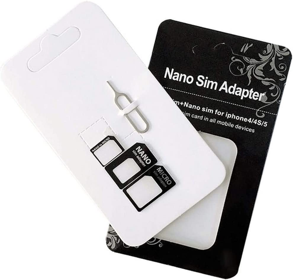 Maeline SIM Card Adapter Nano Micro Standard 4 in 1 Converter Kit with Steel Tray Eject Pin (1 Pack)