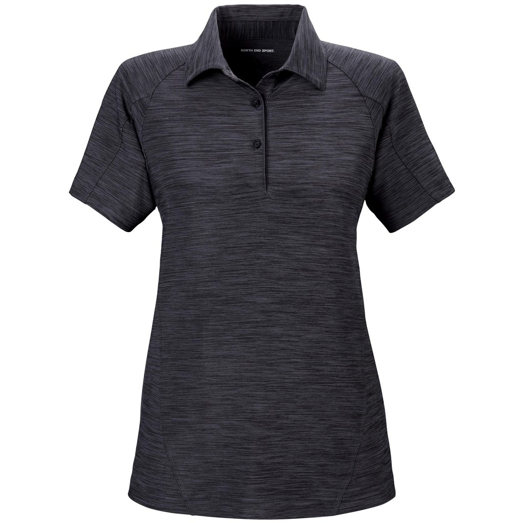 Ash City Ladies Barcode Stretch Polo (Large, Carbon) by Ash City Apparel