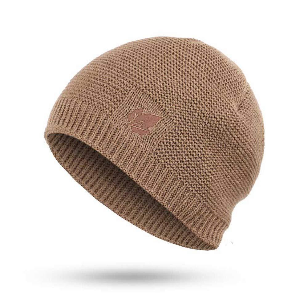 HAOLIEQUAN Herbst Und Winter Männer Gestrickte Baumwolle Caps Plus SAMT Dicke Warme Und Bequeme Hüte Lätzchen Zweiteilige Maske Unisex Ahornblatt Mann Grau B