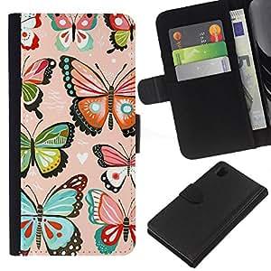 EJOY---La carpeta del tirón la caja de cuero de alta calidad de la PU Caso protector / Sony Xperia Z1 L39 / --Rosa Corazones Amor mariposas del trullo