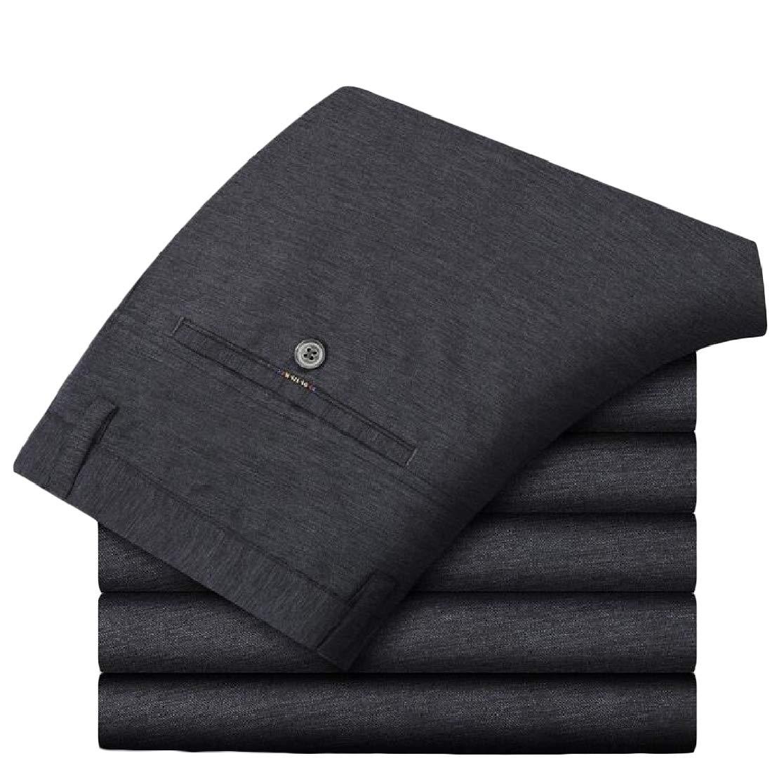Joe Wenko Mens Casual Business Wrinkle Free Trousers High Waisted Long Pants