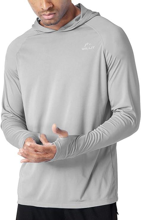 Willit Men's UPF 50+ Sun Protection Hoodie Shirt Long Sleeve SPF Performance Hiking Fishing Shirt Lightweight best men's fishing shirt