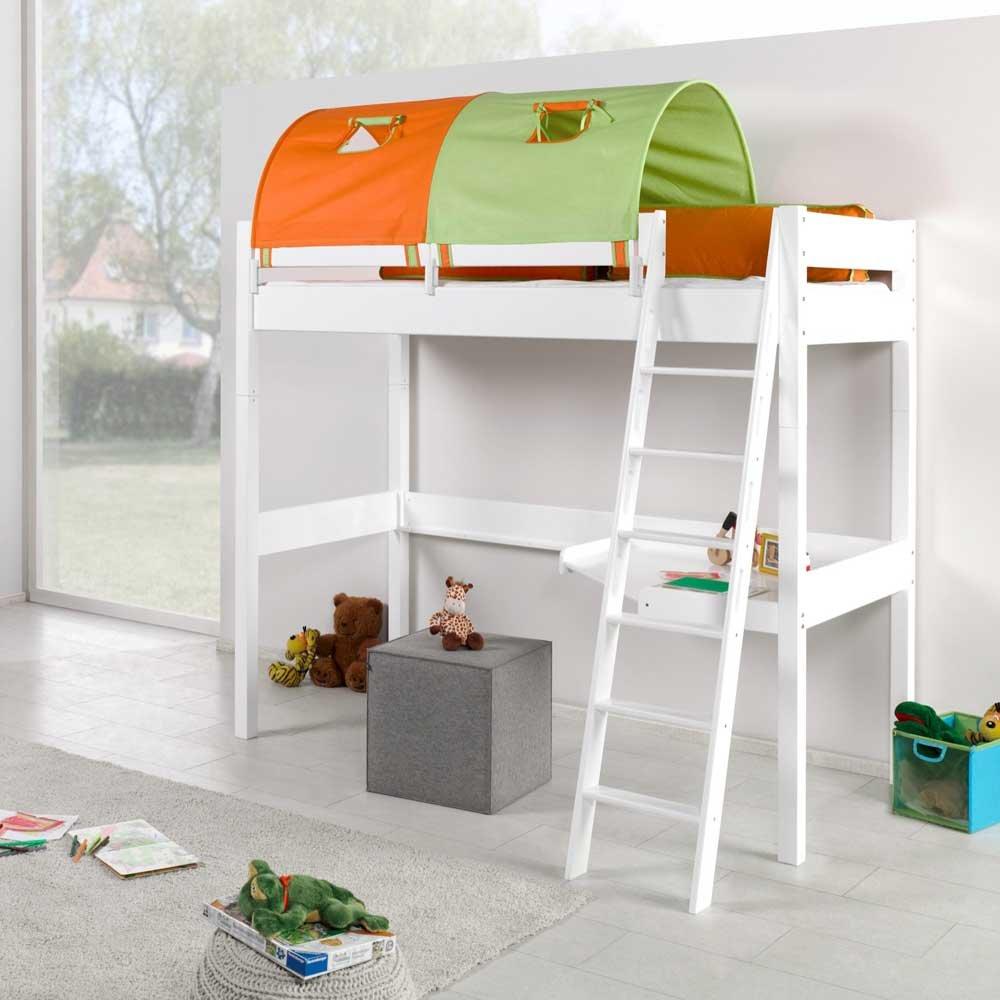 Pharao24 Spiel Hochbett mit Tunnel und Schreibtisch Orange Grün