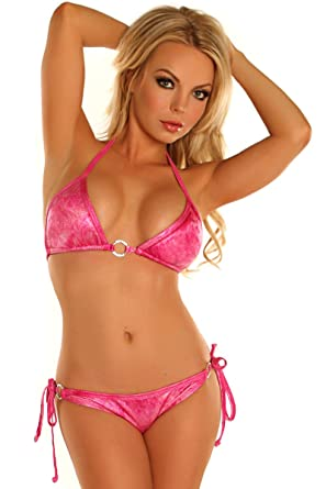 63322e532b9 Amazon.com: Daisy Beachwear Women's Pink Glitter Pucker Back Bikini  W/Rhinestones: Clothing