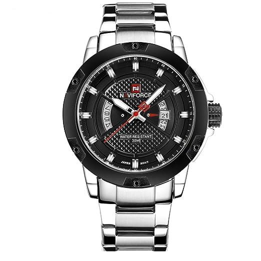 los deportes de los nuevos hombres populares doble indicación de la fecha de cuarzo reloj estuche negro de línea relojes sólidos de los hombres elegantes ...