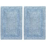 Cotton Craft 2 Piece Reversible Step Out Bath Mat Rug Set 17x24 Spa Blue 100 Pure Cotton Super Soft Plush Absorbent Hand Tufted Heavy Weight
