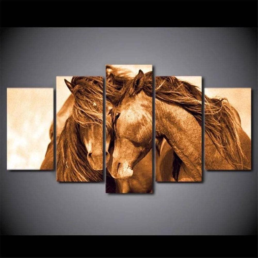 IIIUHU 5 Piezas Cuadro sobre Lienzo De Fotos Caballos Lienzo Impresión Cuadros Decoracion Salon Grandes Cuadros para Dormitorios Modernos Mural Pared Listo para Colgar