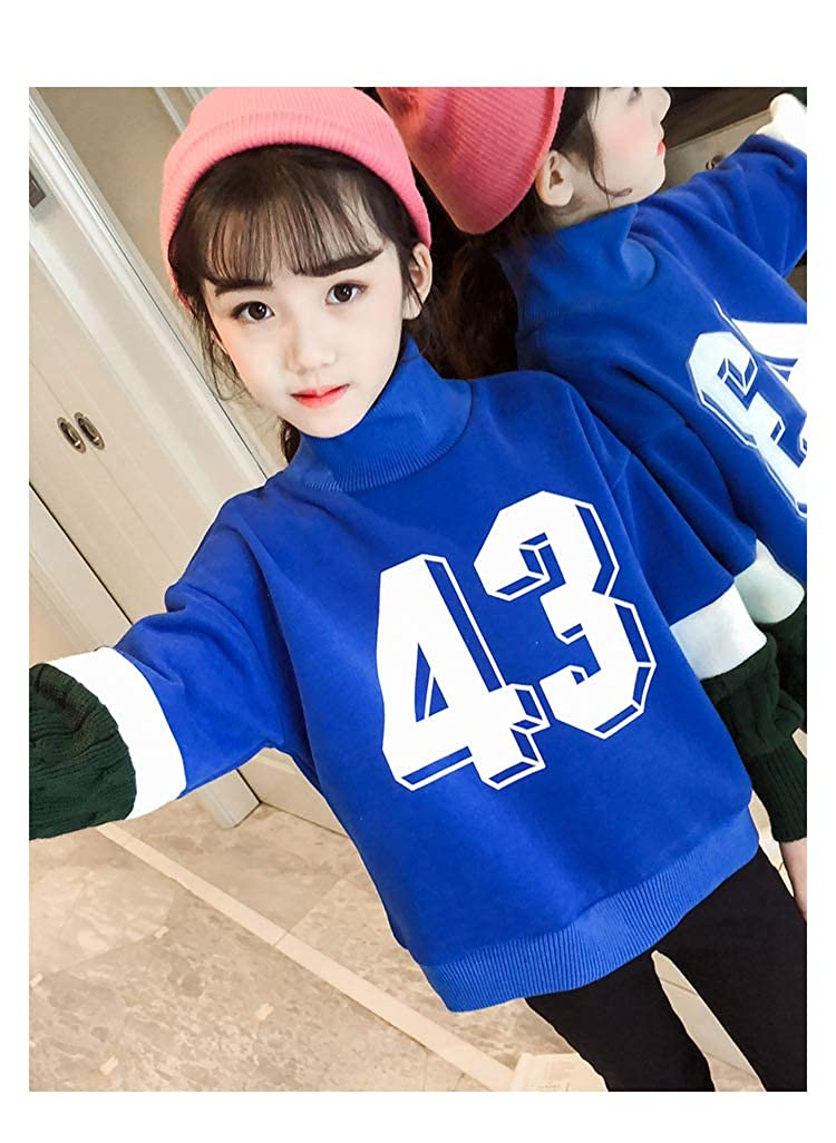 JJCat Girls High Neck Fake Long Sleeve Letters Print Color Patchwork Thick Fleece Pullover Hoodies