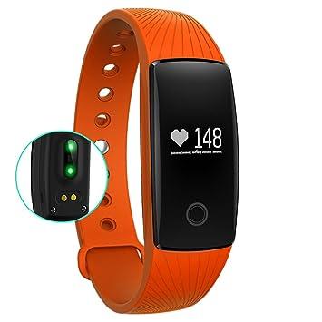 OOLIFENG Fitness Tracker Relojes, Pulsera Inteligente Con Pulsómetros Llamada / SMS Recordatorio Para Cámping Turismo,Orange: Amazon.es: Deportes y aire ...