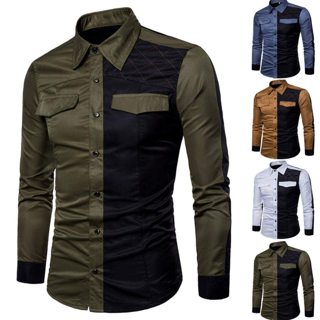 Mens Long Sleeve Oxford Formal Casual Suits Slim Fit T-Shirt Blouse Top Wild Tight Leisure Color Matching for Mens